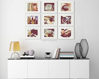Chanel bathroom set of 9 makeup print/Chanel girl room decor/Black and white photography/bathroom art/nursery decor/girl teen decor/makeup