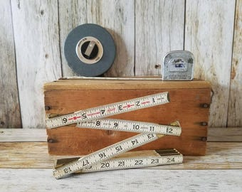 Collection of  VINTAGE TAPE MEASURES Folding Yard Stick Winding Tape Measure