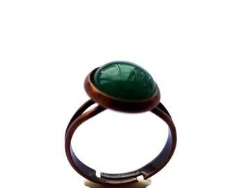 Round Jade Cameo Ring Copper