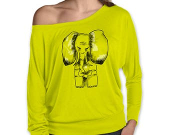 Neon yellow top, elephant shirt, painted tee, women apparel, ladies style, gift for her, animal drawing