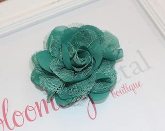 Dark Teal Lace Chiffon Flower Clip