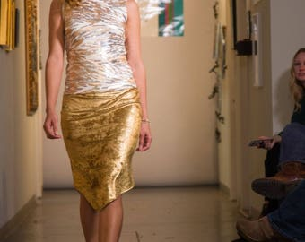 Gold and silver sequin fitted shell
