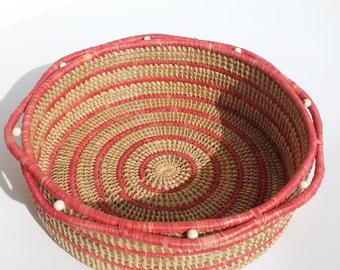 Pink and Natural Pine Needle Basket Large