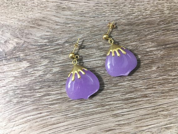 purple sale and handmade bead jade crystal earrings gemstone lavender