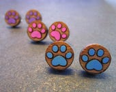 Paw Print Earrings, Pick A Color, Hand painted Wood Studs, Cat Dog Animal Toe Beans Pawprint Studs, Clip Ons, Hypoallergenic
