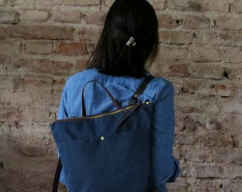 25% DISCOUNT - Backpack, Waxed Canvas and Leather Purse, One of a Kind