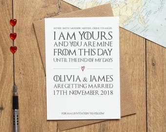 Game of Thrones Save the Date, Wedding Save the Date, Personalised Wedding Invitations, Invites, Wedding Stationery, Engagement Announcement