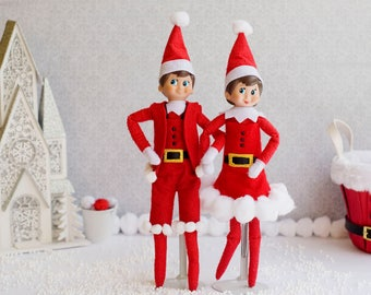 Mr. & Mrs Claus Christmas Elf outfit, Elf Dress, Elf Jumpsuit, doll accessories, Christmas Holidays, Clothing