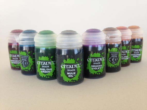 Citadel shades collection acrylic paint for polymer clay, miniature and steampunk formulated to flow over other paints and into the recesses