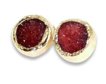 Gold Druzy Earrings, Gold Druzy Studs, Pink Druzy Stud Earrings, Gold Earrings, Gemstone Earrings, Agate studs, Druzy, Pink Post Earrings.