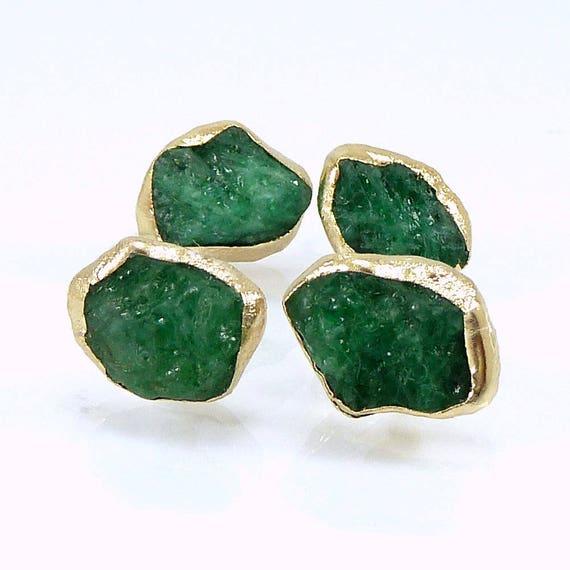 Emerald Earrings Emerald Stud Earrings Raw Emerald Studs