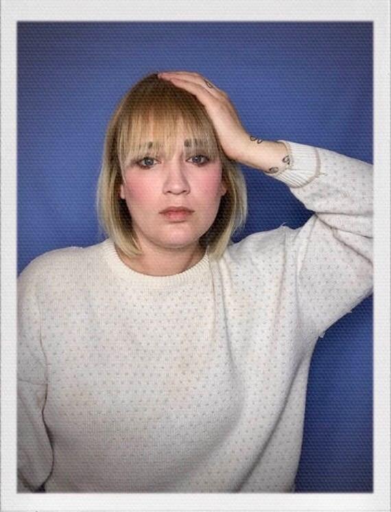 "Vintage Women's Shabby Sweater Size Medium 22""width 21"" length"