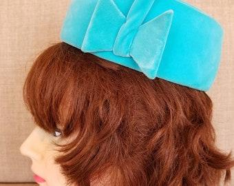 "Vintage '60s Womens's Blue Pillbox ""Betmar"" Hat"