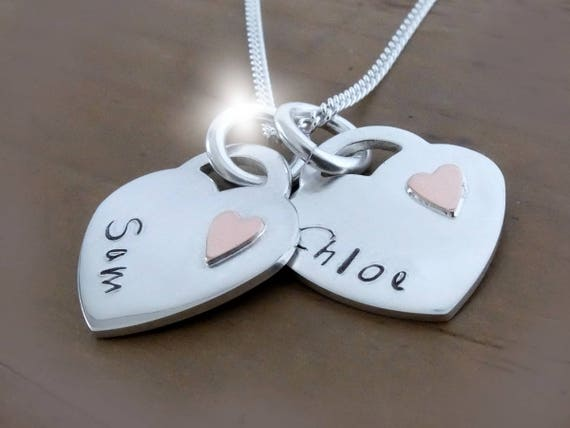 Silver and Copper Heart Necklace with Names, Copper Anniversary Gift, 7th Seventh Wedding Anniversary, Personalised Hearts Necklace