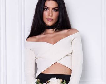 Wedding sweater Off the shoulder top Cross front cropped top Bridal sweater slim fit