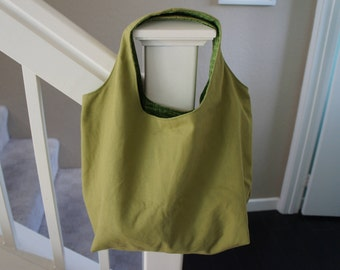 Reversible Grocery Bag, Reusable Eco Market Bag, Eco Bag, Eco Shopping Bag, Khaki, Green