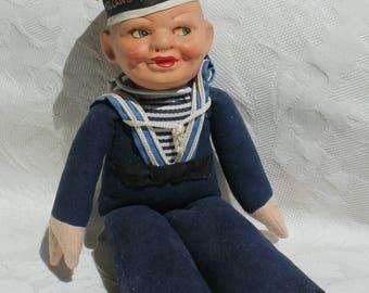 Vintage 1930 Norah Wellings Holland America Cruise Line Sailor Doll - Navy Shelf Sitter - Composition Head, Felt Body Nautical Decor