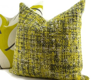 Yellow, Gray & Off White Woven Throw Pillow Cover, 20x20