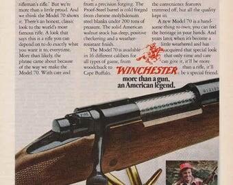 1976 Advertisement Model 70 Rifle Guns Retro Vintage Wall Art Decor Gift For Him Hunting Outdoors