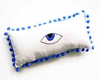 "Evil Eye Pillow - Evil Eye Decor - Mini Lumbar Pillow - Housewarming gifts - Hand Embroidered Lumbar Pillow - 30X15 cm (11.8""X5.9"")"
