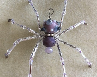 Purple Christmas Spider Ornament