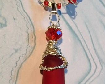 RESERVED...NOT AVAILABLE..Give the Gift of Red!  Color rich celebration of Red Beach Glass from Toronto wired pendant and necklace