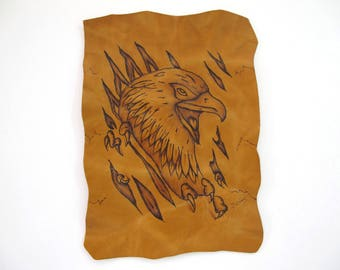 Handcrafted Leather Patch with Pyrography. The eagle