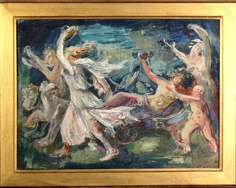 Magnificent ca.1930 Mythology Triumph of Bacchus Oil Painting on Canvas w/Frame