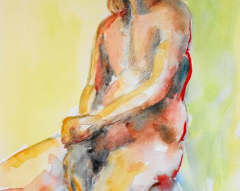 Original figure study, pencil sketch, watercolour washes, from life, male model, front view, seated, gesture, 11 X 14, Figure 100
