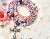Purple Cross Bracelet, Seed Beads,Minimalist  Stretchy, Bracelet Stack, Spirtitural, Faith, Purple Bracelet, Custom, Handmade Beaded Jewelry
