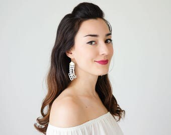 Off White Lace Earrings Dangle Earrings Long Earrings Boho Chic Elegant Earrings Bridal Earrings Bridal Jewelry Gift For Her / STARA