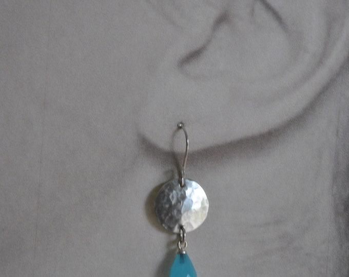 Sterling silver dangling earrings, textured metal earrings, aqua blue, artisan earrings