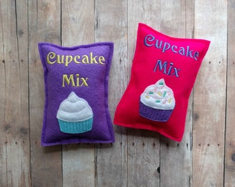Ready to Ship Felt Food Bag of Cupcake Mix, Embroidered Acrylic Felt, Play Food, Pretend Play, Baking Play Set, Great for Play Kitchens