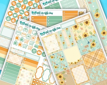 Rustic Sunflower Lace Weekly Sticker Kit // 5 Page Planner Stickers // Vertical Planner