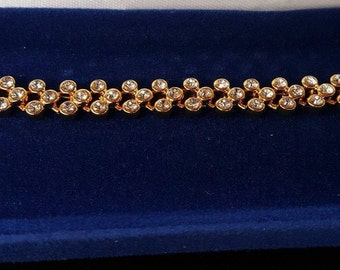 Jackie Kennedy Tennis Bracelet - 24K GP with Crystals, Box and Certificate - Sz 7 or 8
