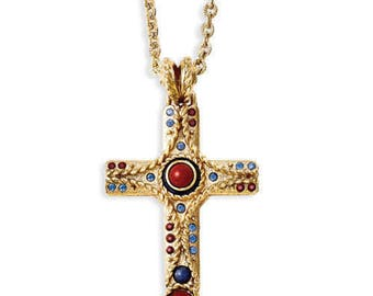 Jackie Kennedy 24K GP Cross Necklace - Jasper Gemstones, Box and Certificate