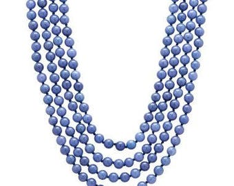 Jackie Kennedy Blue Beaded Necklace - Natural Gemstone, 4 Strands, Box and Certificate