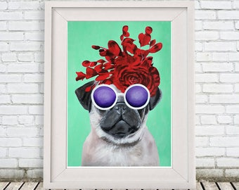 Original Pug Print, pug Illustration Art Poster Acrylic Painting Kids Decor Drawing Gift, pug with flowers, gift for pug lover