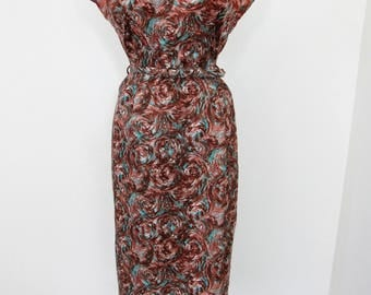 1950s Chocolate, Turquoise & White Swirl Print Wiggle Dress with Black Trim, Matching Belt and Jacket