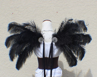 Medium / Large size Black Ostrich Feather Wings
