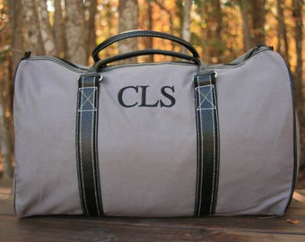 Monogrammed Mens Duffel Bag Personalized Gray Weekender Bag