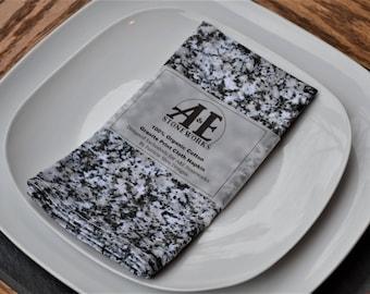 Organic Cloth Napkin - Granite Rock Print - Cotton Fabric (Slate Napkin Ring add on option)