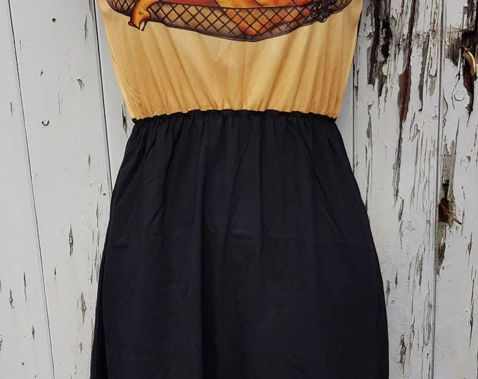 Vintage Tattoo Pin Up Girl Black Skater Dress - Size 10 12 14 - Sailor Jerry Rockabilly Rise & Shine