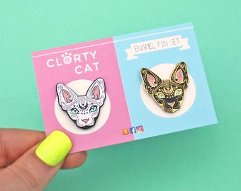 Black & white Mystical Sphynx pins, set of TWO - sphynx cat - hairless cat - cat gift - cat lover - cat lover - enamel pins - lapel pins