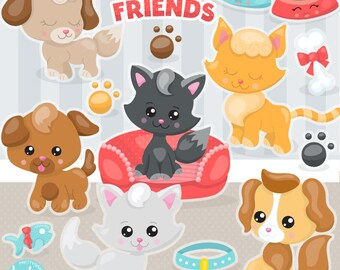 80% OFF SALE Pet friends clipart commercial use, animal friends vector graphics, digital clip art, digital images  - CL1130