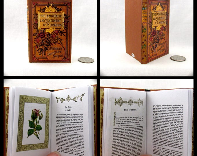 "THE LANGUAGE Of FLOWERS Illustrated Readable Book 1:3 Scale Miniature Book 18"" American Girl Doll Accessories 18 inch Ag Doll 1/3 Scale"