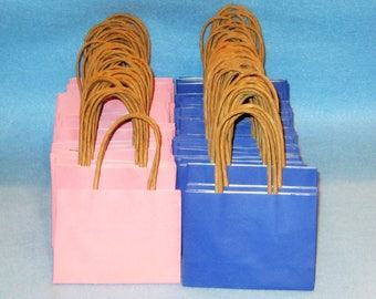 Favor Bags-Kraft Paper Bags -Mini Gift Bags- Favor Supplies- Small-Pink and Blue- Favor Gift Bags-Baby Shower Bags.