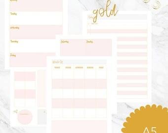 Rose Gold Planner Inserts | A5 Insert | Kikki K Large Rose Gold| Rose Gold Filofax  Rose Gold Printable Planner | Shanhan Studio