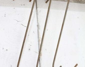 """3 10"""" Handmade Wrought Iron Hooks"""