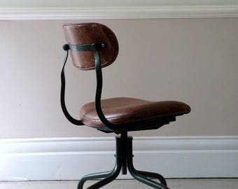 Vintage Industrial Machinists Leather Chair